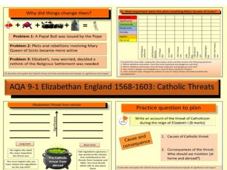 AQA GCSE History 9-1 Elizabethan England 1568-1603: Catholic threats at home and abroad