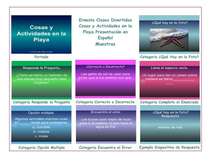 Beach Things and Activities Spanish PowerPoint Presentation