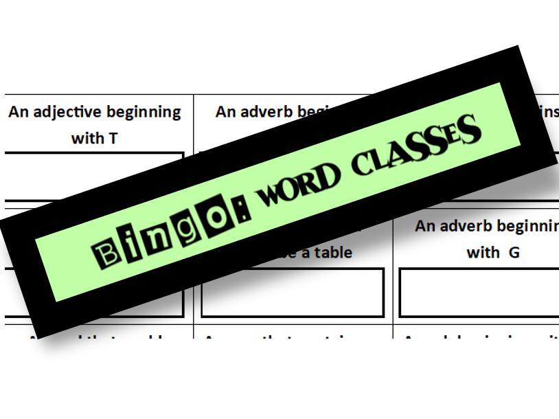 Word Classes Bingo