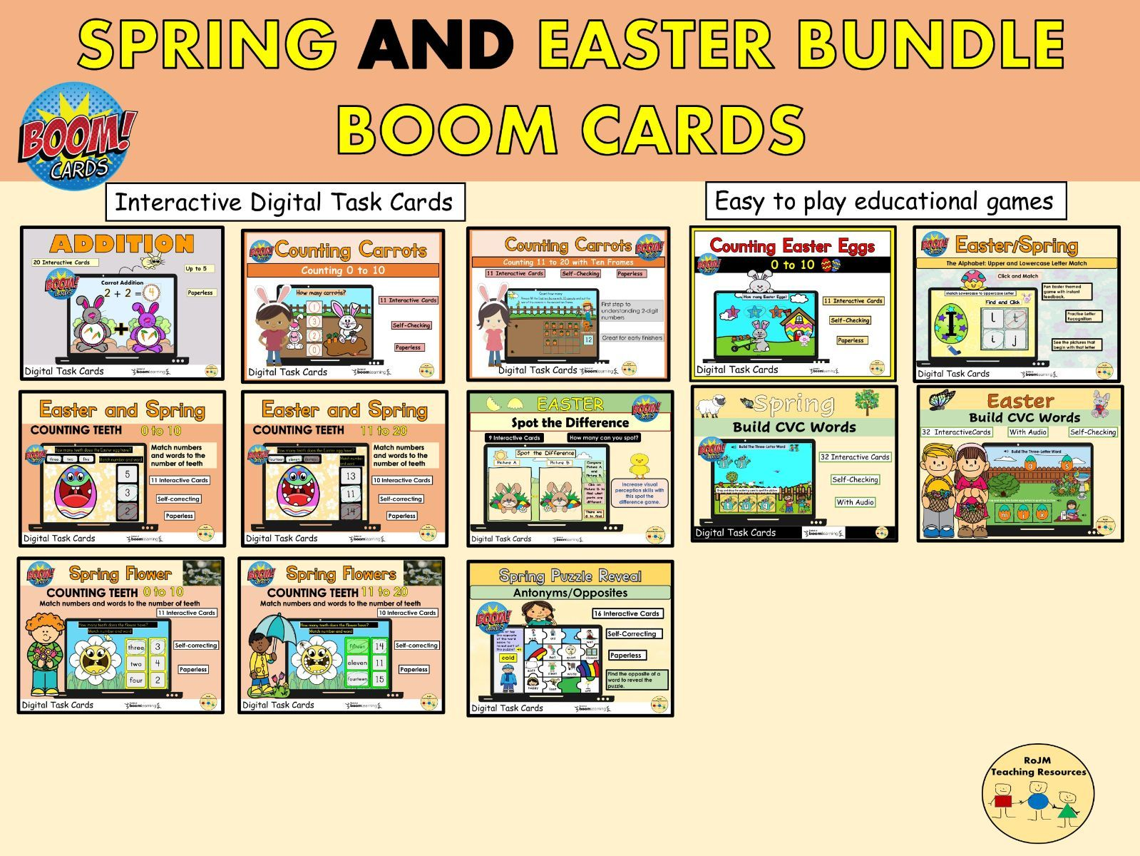 Spring and Easter Bundle Boom Cards Distance and Home Learning