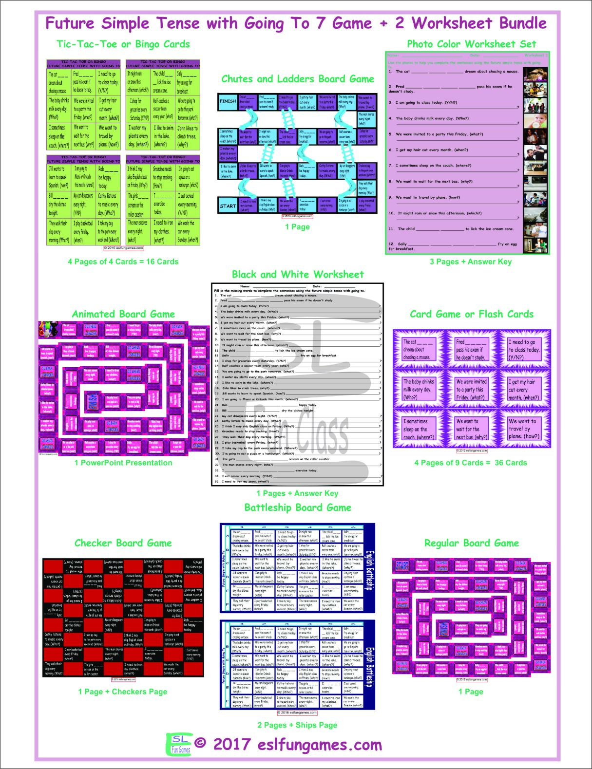 Future Simple Tense with Going To 7 Game Plus 2 Worksheet Bundle