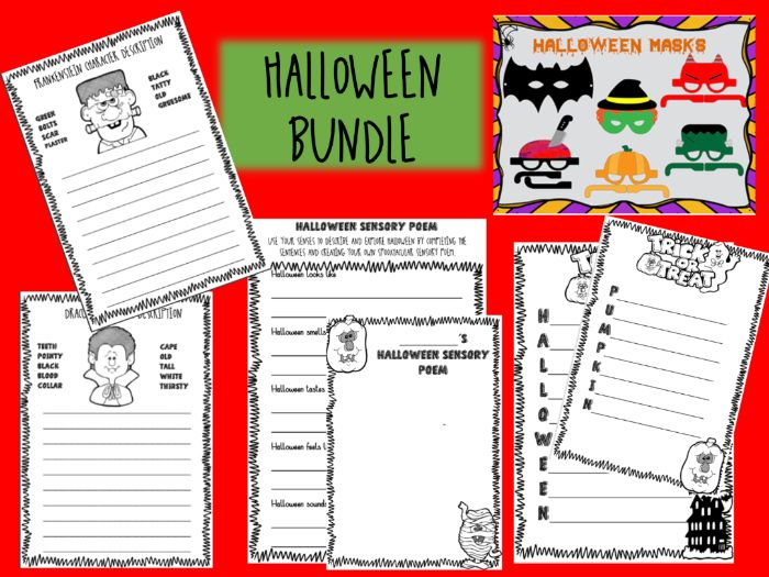 HALLOWEEN poetry, description writing and mask BUNDLE