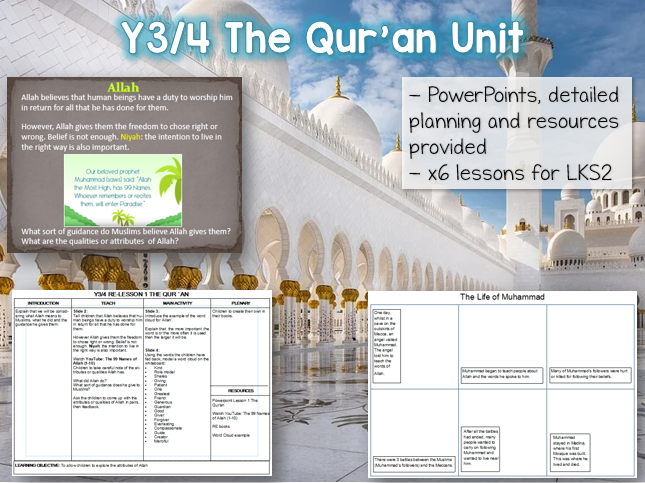 Y3 / Y4 The Qur'an Islam RE Unit - 6 lessons