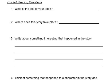Guided Reading Questions (for any fictional book) & Guided Reading Expectations