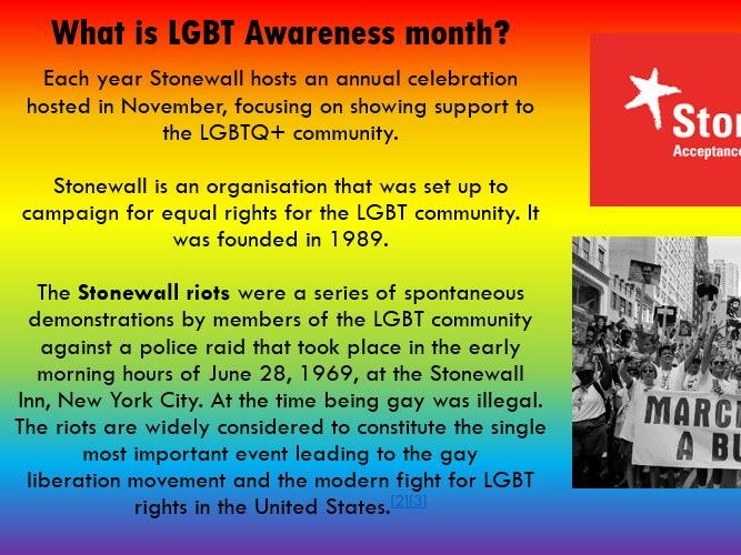 LGBT Awareness Month - November - PSHE Social, Moral, Ethical Lesson Awareness KS3 KS4