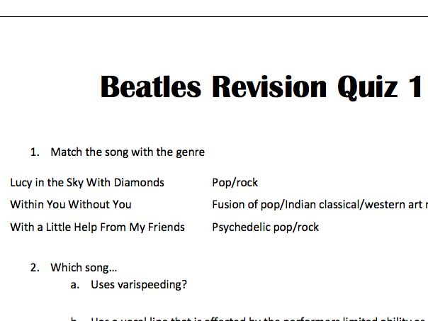 AQA GCSE Beatles Revision Quiz 1