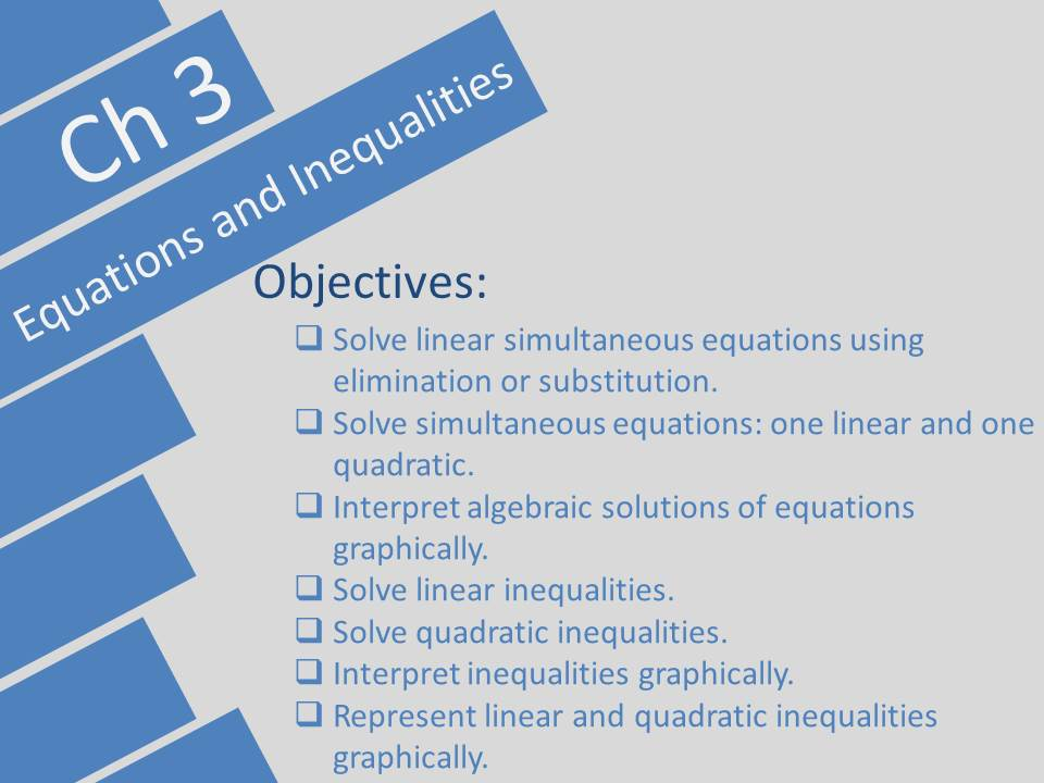 Equations and inequalities Edexcel A-level Year 1/AS Pearson Ch 3