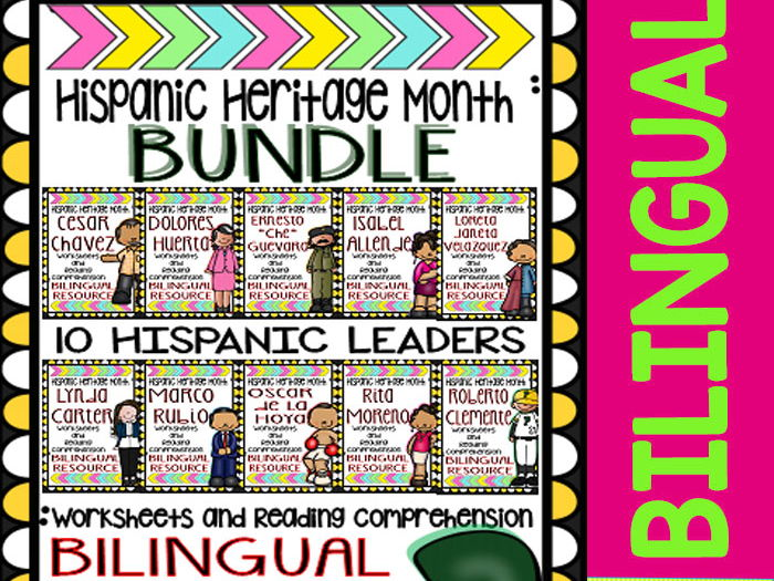 Hispanic Heritage Month - Bundle 2 - Worksheets and Readings (Bilingual)
