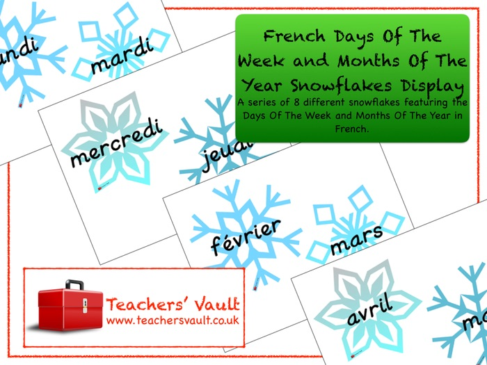 French Days Of The Week and Months Of The Year Snowflakes Display