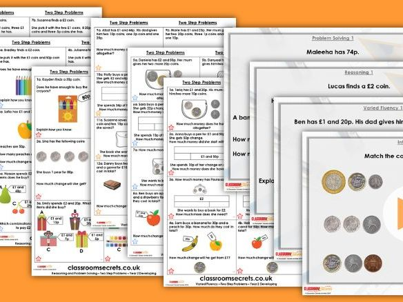 Year 2 Two Step Problems Autumn Block 3 Step 10 Lesson Pack