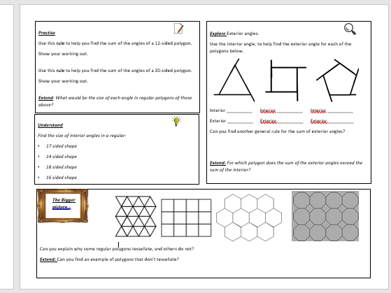 Angles in polygons worksheet tes