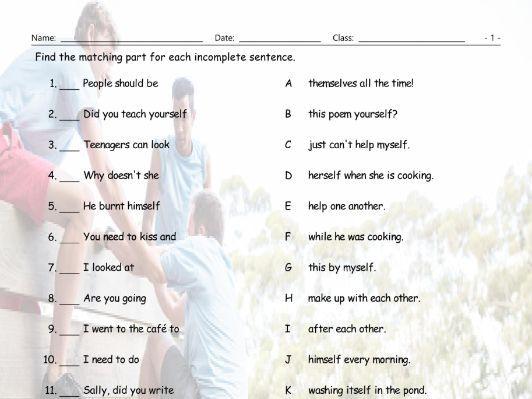 Reflexive-Reciprocal Pronouns Sentence Match Worksheet