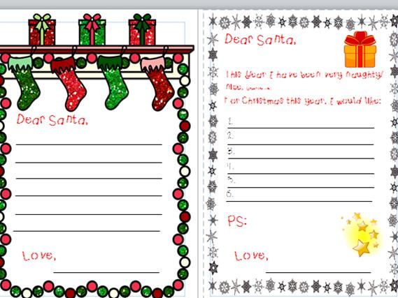 Letters to Santa and Word Bank
