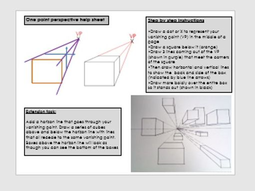 1 point & 2 point perspective drawing tasks