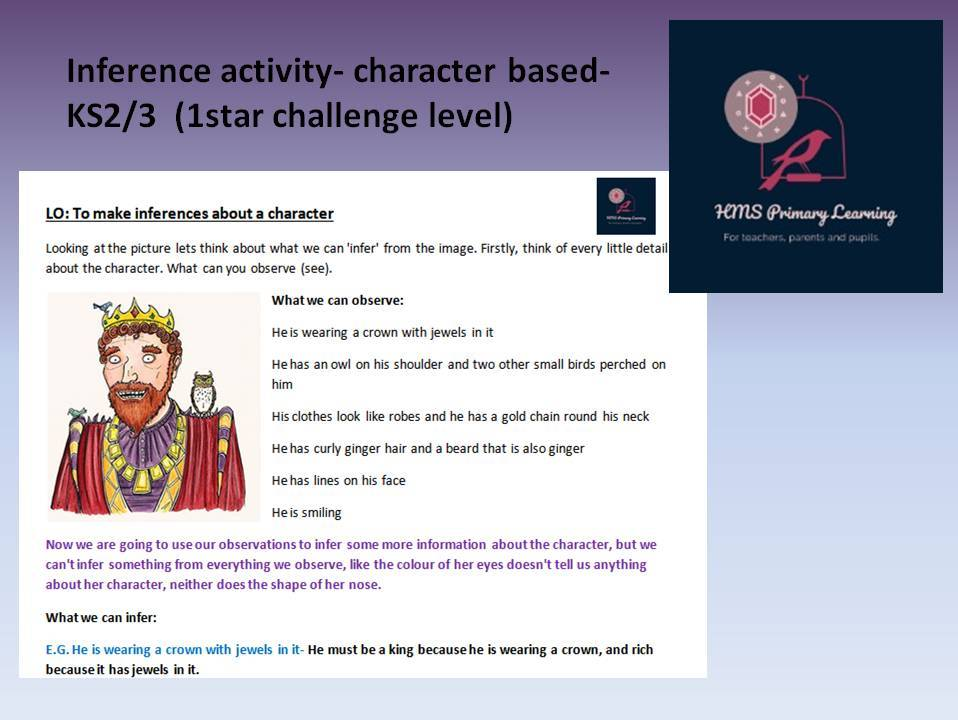 Inference activity- character based KS2/3- Easier (1 star challenge level)