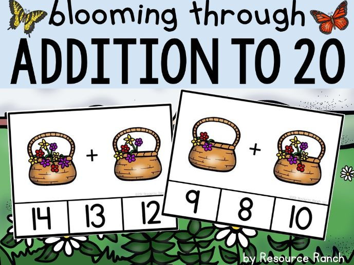 "Addition Clip Cards ""Blooming through Addition to 20"""