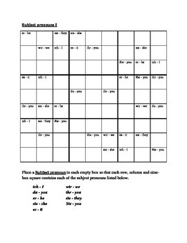 Subject pronouns in German Sudoku