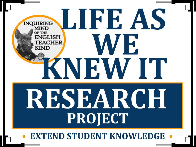 Life As We Knew It Bundle - Quizzes, Research Project, Test, and Keys