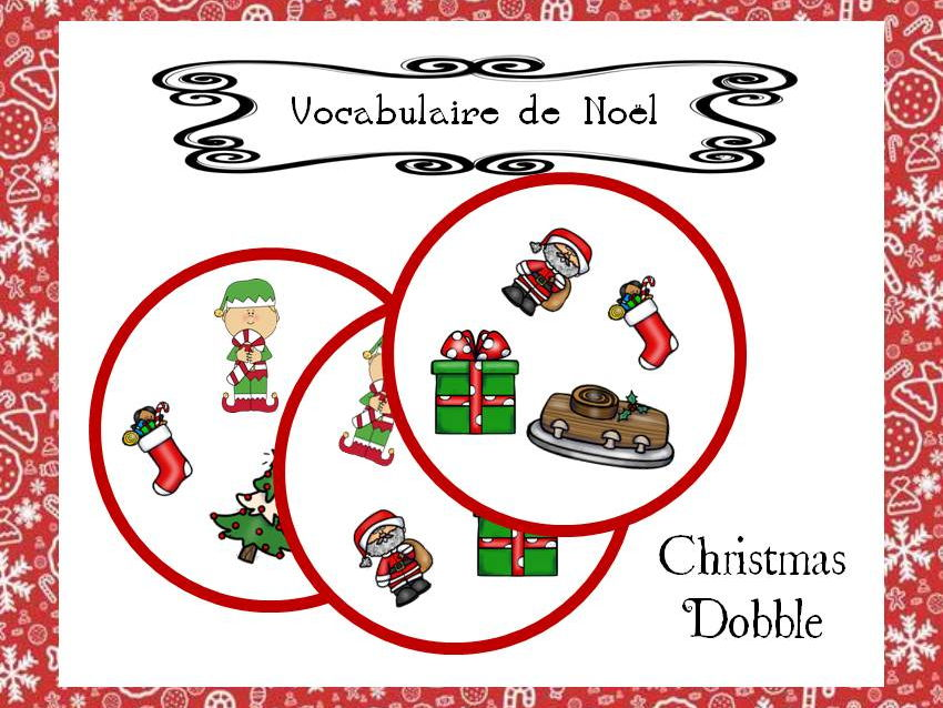 Christmas Vocabulary - Noël, Navidad, weihnachten Dobble Game