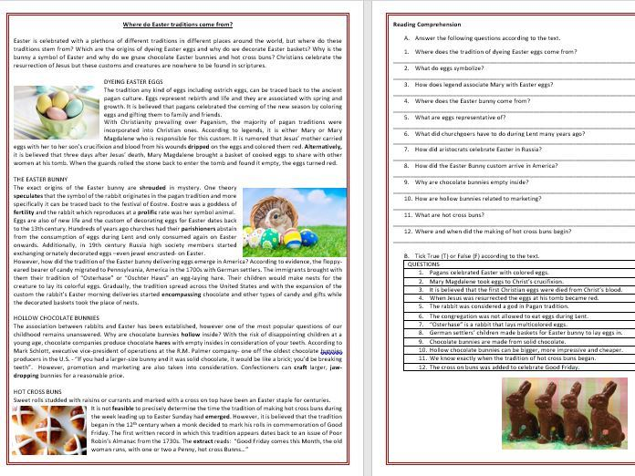 The origins of Easter Traditions - Reading Comprehension and Vocabulary Worksheet