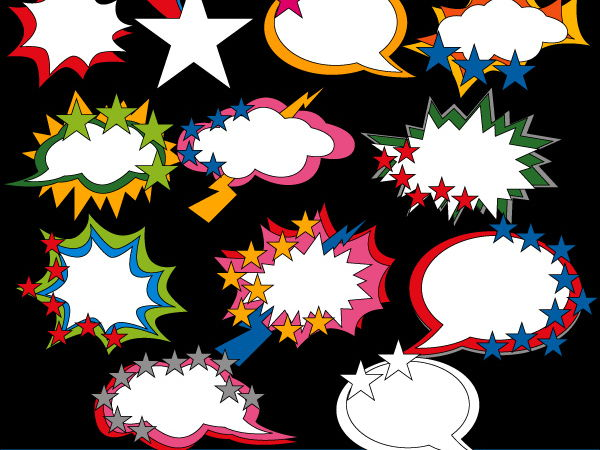 Counting stars in talk bubble clipart - fun math clip art