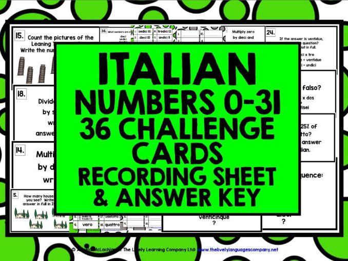 ITALIAN NUMBERS 0-31 CHALLENGE CARDS