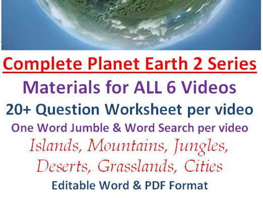 COMPLETE Planet Earth II Video Series Worksheets, Wordsearchs, and Word Jumbles Planet Earth 2