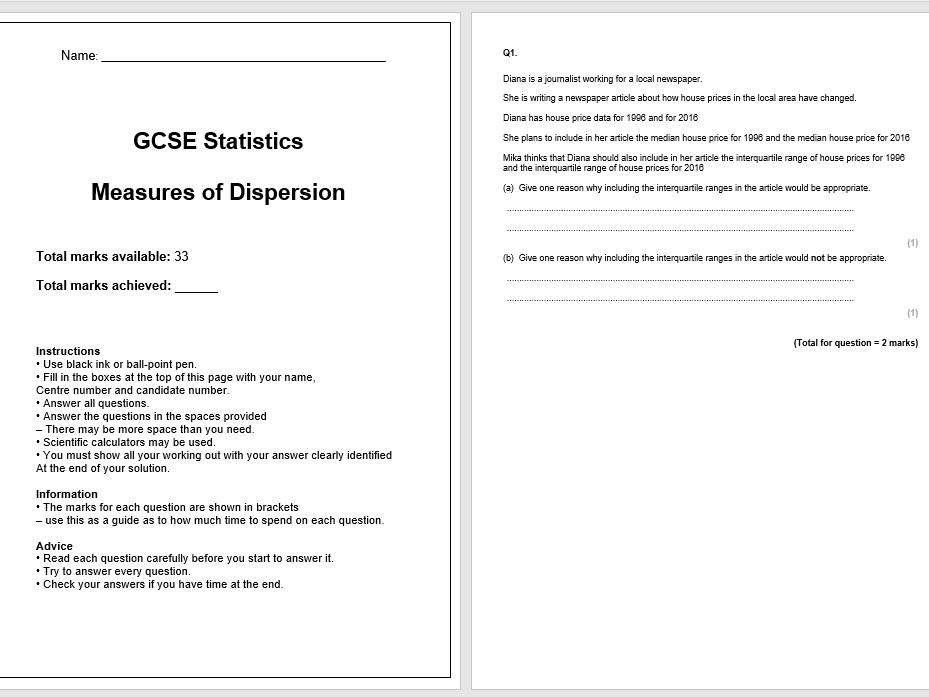 Measures of Dispersion Exam Questions (GCSE Statistics)