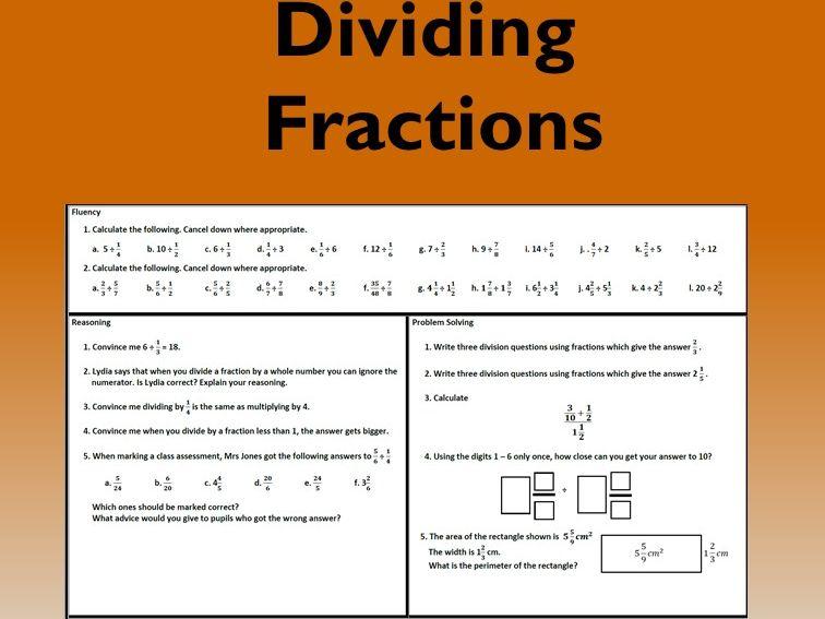 Dividing / Division of Fractions Problem Solving Mastery Worksheet
