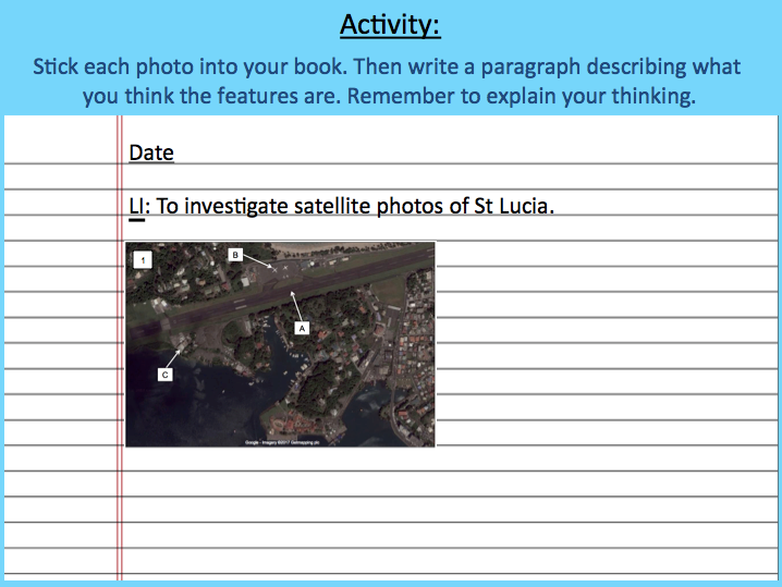 Investigating satellite photos of St Lucia