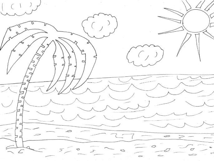 Beach Colouring Page By Sarah277