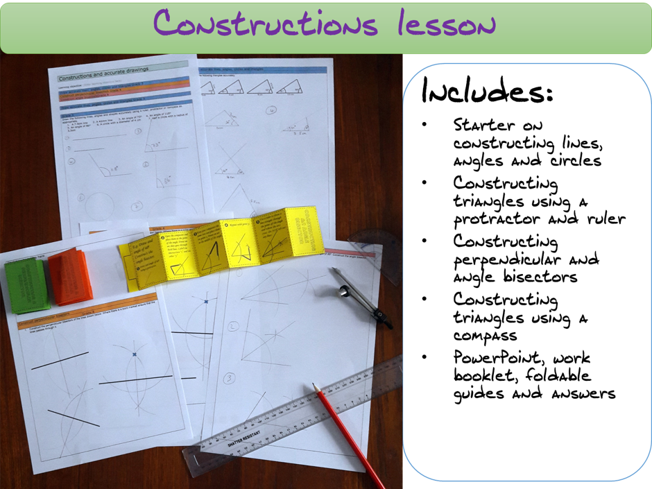 Constructions and accurate drawings lesson (lines, angles, perpendicular/angle bisector, triangles)