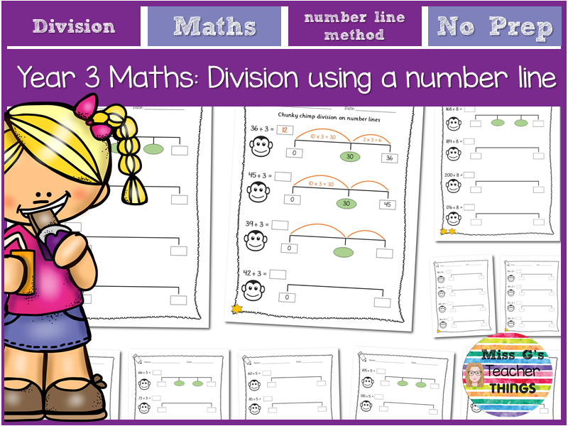 Year 3 maths: division using number lines (chunky chimp method)