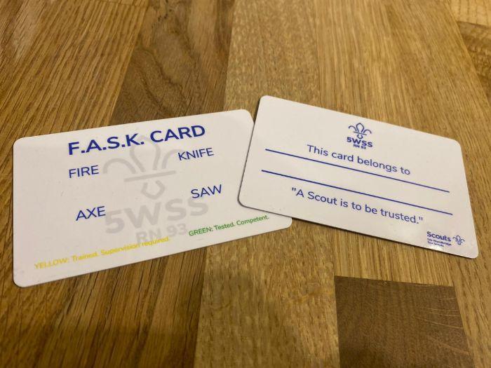 Scouts: Fire Axe Saw Knife (FASK) Training Sheets