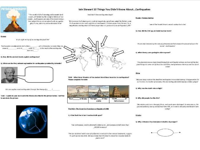 Earthquakes - 10 Things You Didn't Know About... Worksheet to support the BBC Doc with Iain Stewart