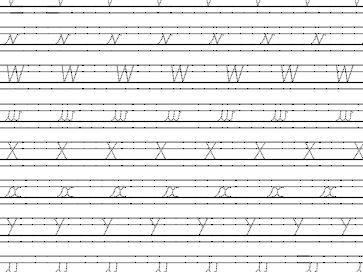 Cursive Handwriting letters v - z guide lines