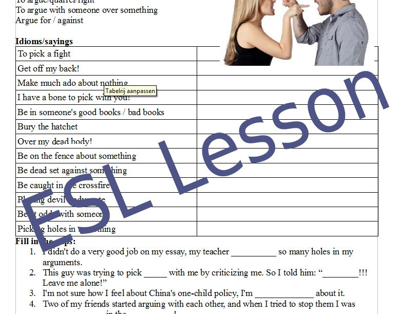 Argument - ESL English conversation handout / lesson plan