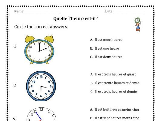 Telling time in French distance learning worksheets