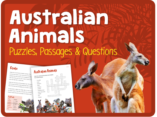 Australian Animals (Puzzles, reading & questions)
