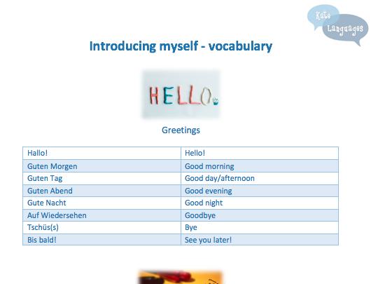 Key Stage 3 German - Introducing myself - vocab and grammar