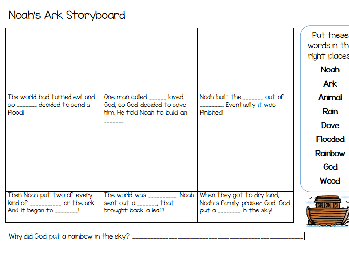 KS1 Noah's Ark Storyboard with Missing Words
