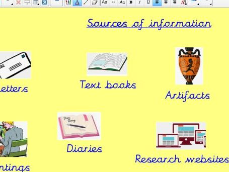 Mayan artifacts and sources of information - Notebook slides / presentation KS2