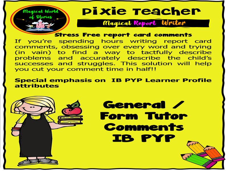 Free - IB PYP Report Card Comments