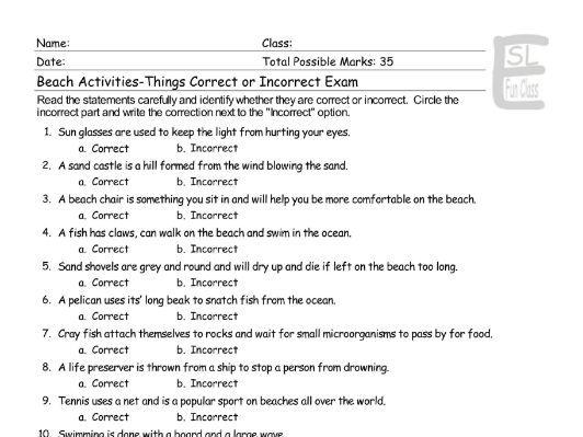 Beach Activities-Things Correct-Incorrect Exam