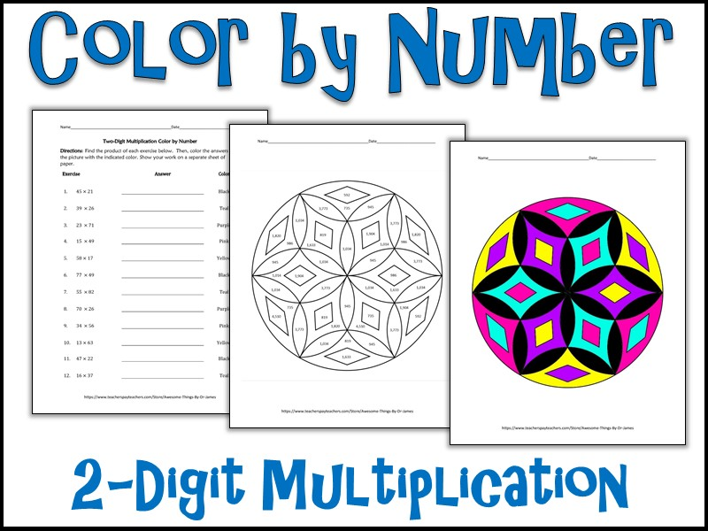 2-Digit Multiplication Color by Number