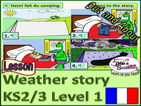 "PRIMARY FRENCH LESSON (KS2/3): ""In""+season, +""when""+weather phrase+""I need my""+clothes item; Story"