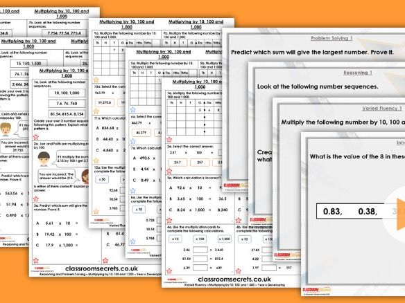 Year 6 Multiply by 10, 100 and 1,000 Spring Block 1 Step 2 Lesson Pack