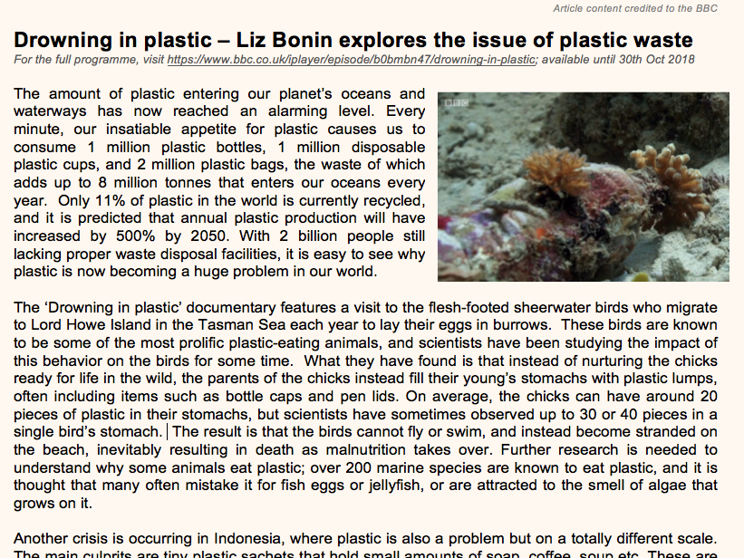 Drowning in plastic - an article based on the BBC documentary