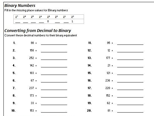 Binary conversions Workbook with Answers