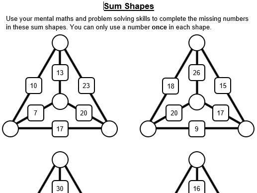 Sum Shapes Resources